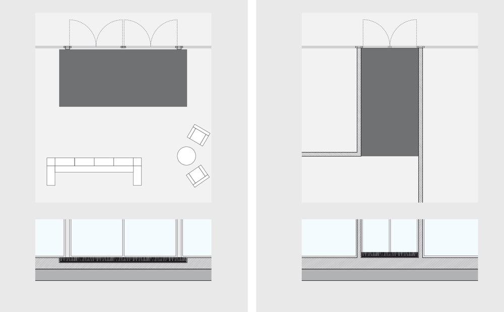 De manière idéale, il est recommandé de prévoir l'installation de Porta lors de la phase de planification d'un bâtiment et de ménager une cavité pour le barrage anti-saleté. Une autre possibilité consiste à poser Porta de mur à mur, ce qui permet de l'intégrer de manière esthétique dans l'architecture ambiante. Grâce à l'enduit lourd qui recouvre le dossier, Porta est antidérapant.