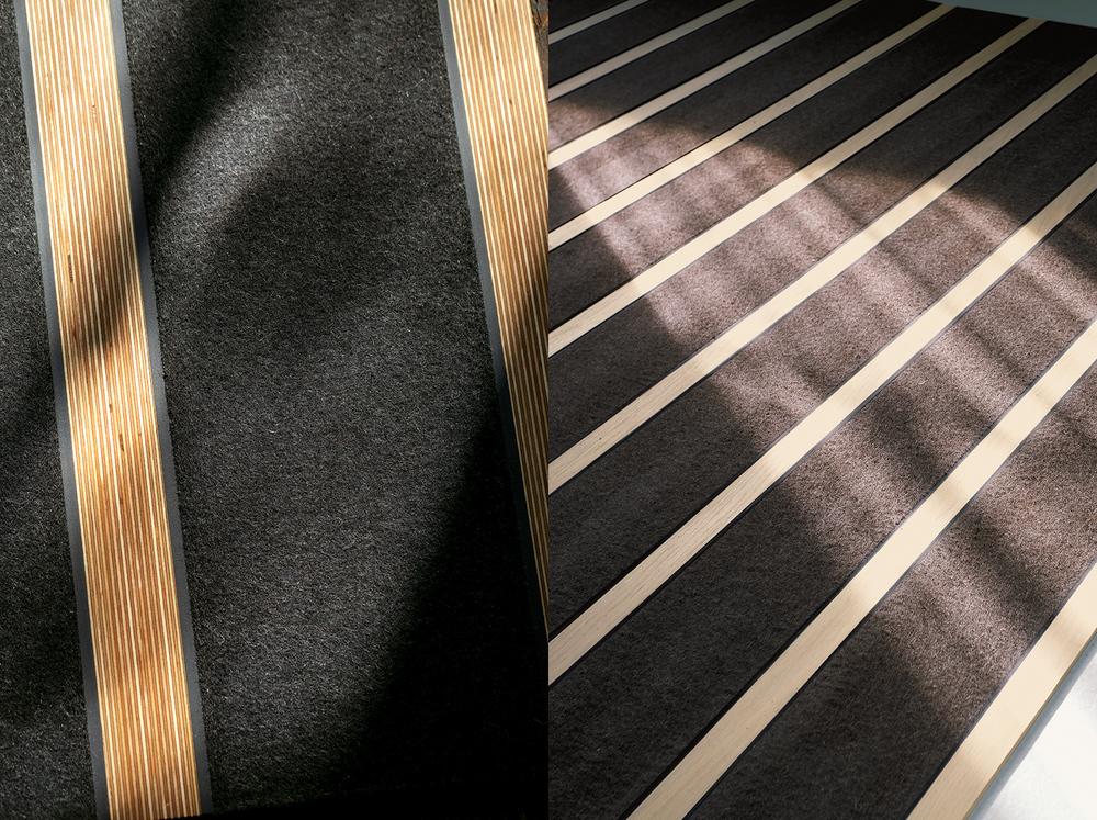 Feltro-Legno Qui si abbina legno a feltro di pura lana vergine.