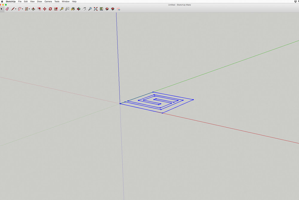 Step 2  The .DWG file is opened in Google SketchUp and extruded to taste