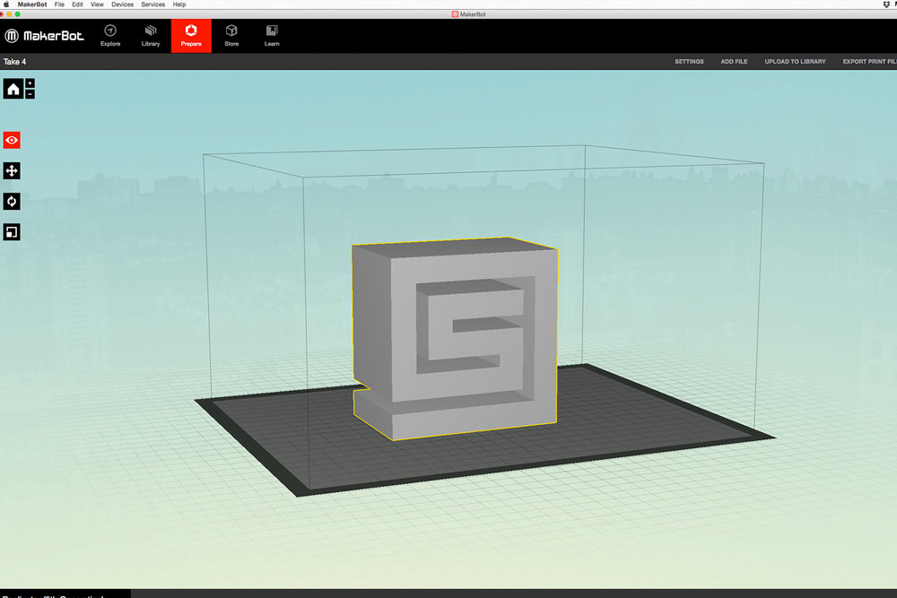 Step 4  The .STL file is opened in MakerBox and is scaled to size