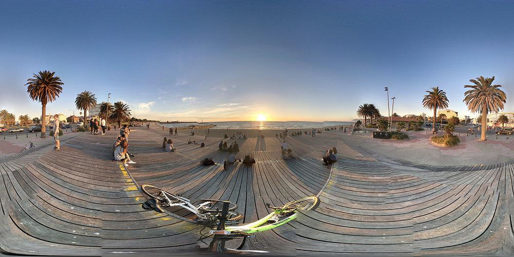 360 degree view of st kilda beach at sunset