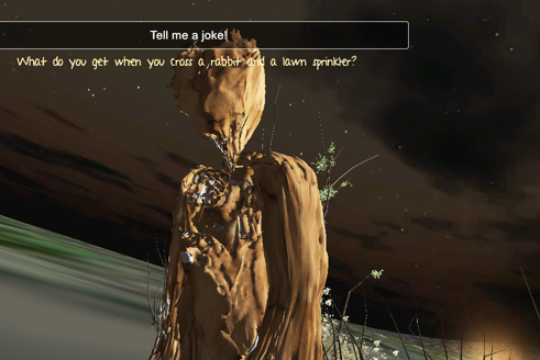 Screenshot from Artwork 2: Text discussion with A.I. Character.  Fractal modeled entity.