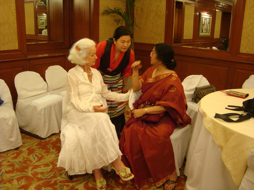 Tenzin Pema from Tibet with me and Meenakshi Gopinath. Delhi 2012