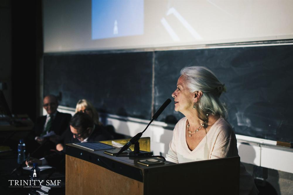 Scilla speaking at Trinity College in Dublin (2015)
