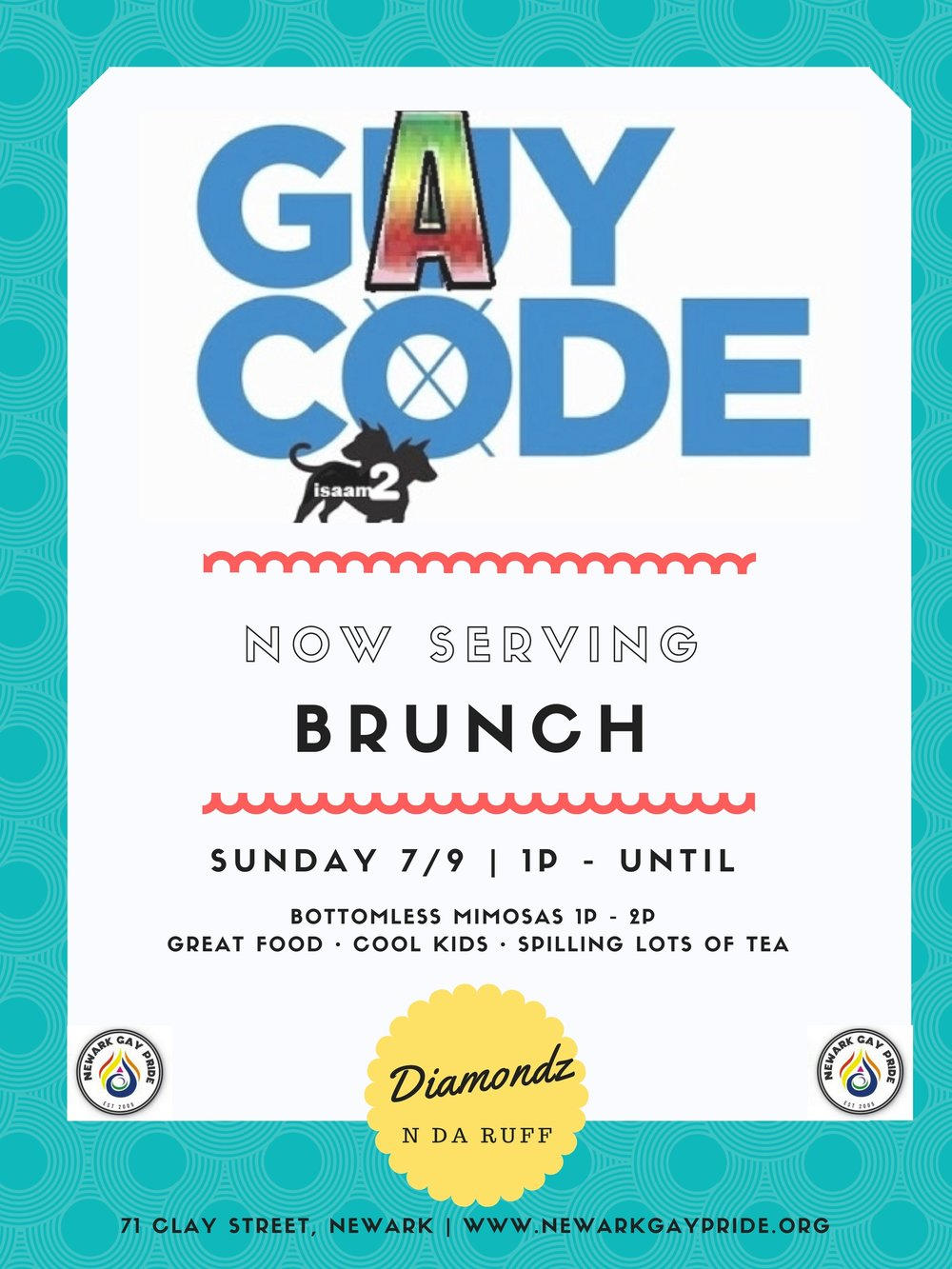 "Gay Code LIVE Brunch - Did someone say brunch?!? Come sip, chew and chat during aLIVE episode of GAY CODE!Hosted by show creator Isaam Sharef and featuring the cast of Gay Code - Julius McFly, Donnie Duright, Darnell Thomas, Dee Tranny Bear and Miya Mychalz:Gay Code is a bold and smart, male driven comedic web-series that is quickly becoming known as everyone's favorite gay uncle. From over the-top tips on how to use an enima, how to get straight boys off the chat line, or even how ""The PrEP pill"" can protect you from HIV. Gay Code features some of the biggest personalities in the LGBTQ community, laying down the laws of what is means to be gay, proud and most importantly....smart!*1st hour includes BOTTOMLESS MIMOSAS"