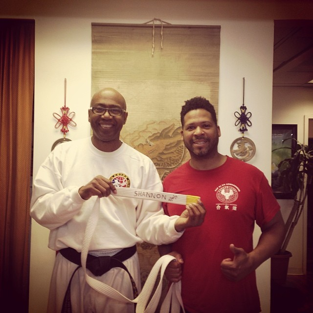 Shannon King celebrates his third year at the dojang.