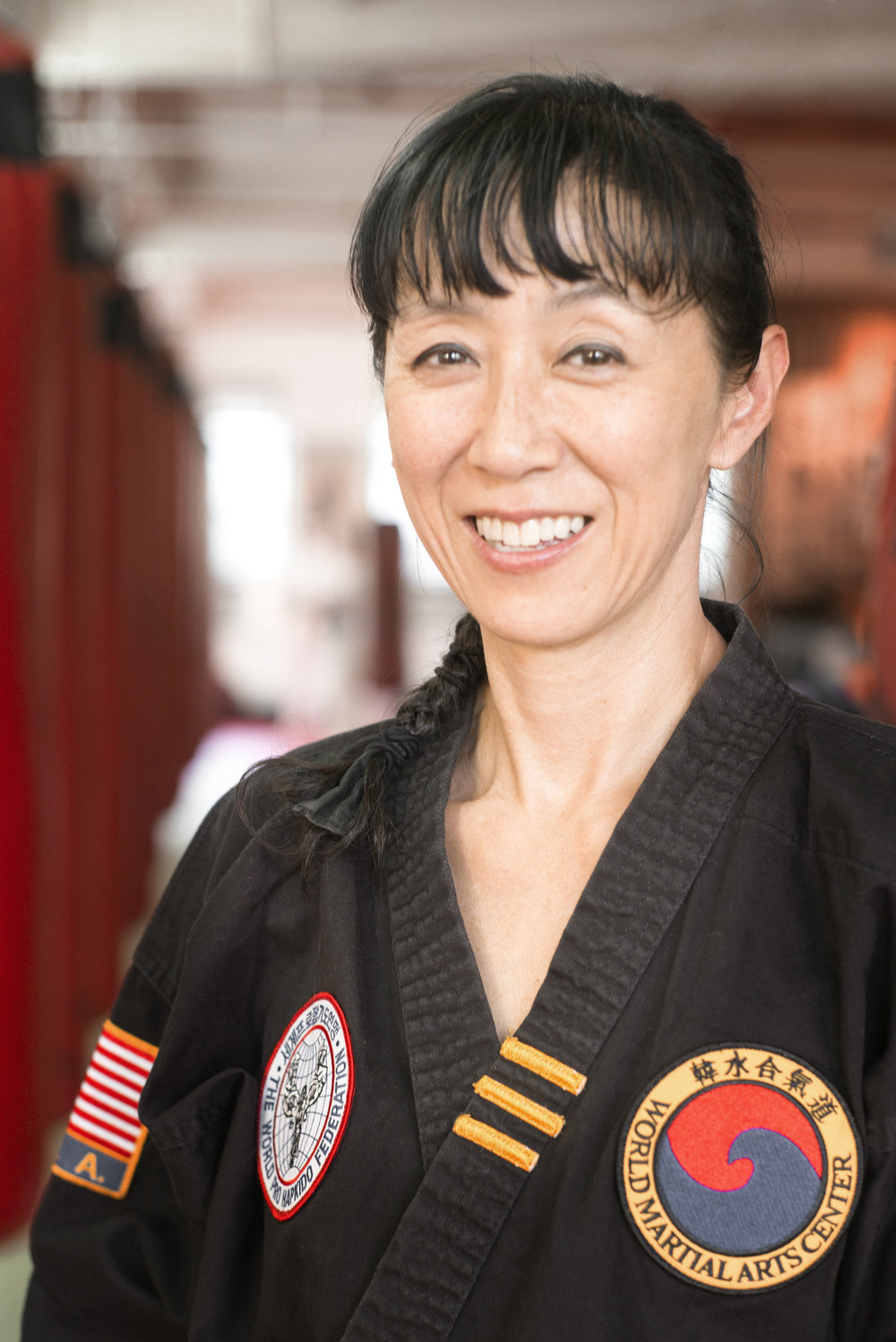 Certified Instructor Sung E Bai  started training in 2006 and earned her 1st Dan Black Belt in HapKiDo in 2015. She began teaching as an Assistant Instructor for children classes in 2012, and later also started teaching adult classes. For over 3 decades, she has been a social justice organizer and was a certified advocate for domestic violence / sexual assault survivors for over 10 years. a leadership coach since 2008, she holds MA and MPhil degrees from Columbia University.
