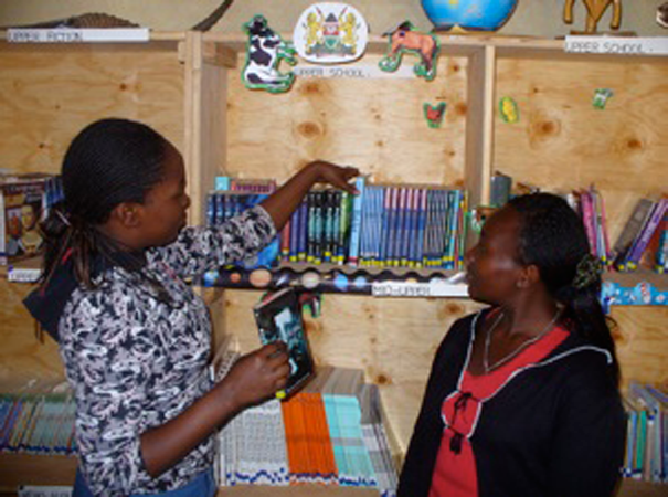 Libraries are a rare, precious resource in rural Kenya. BEADS Interns do everything from cataloging new arrivals to leading book clubs to giving lessons on research. Here, interns Diana and Carolyn unpack and catalog a new shipment of sponsor-donated books.