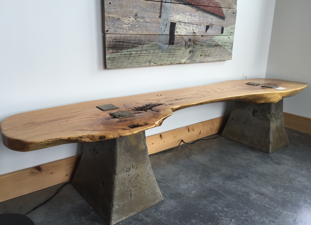 Reclaimed Oak and Concrete Bench