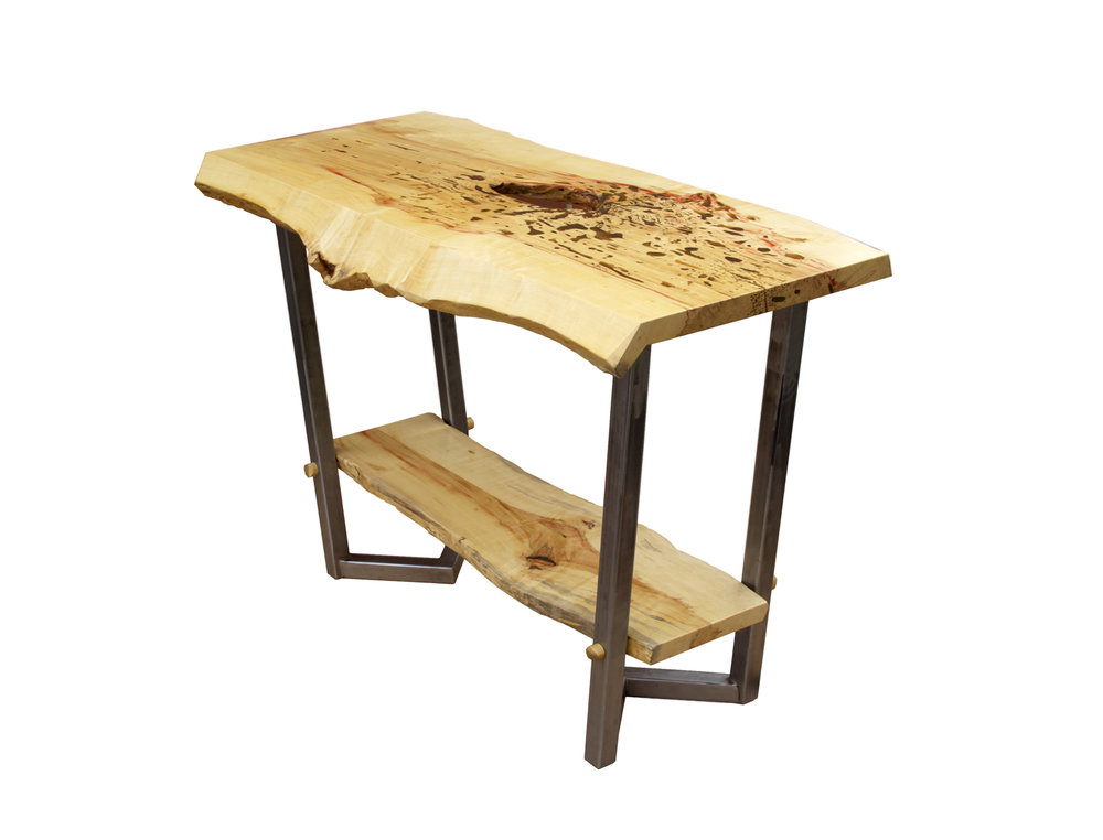 Box Elder Entry Table with Raw Steel Legs
