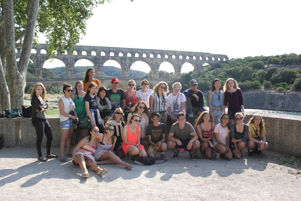 The Pont du Gard, an ancient Roman aqueduct.