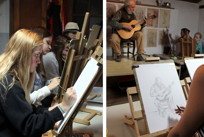 figure drawing session at les tapies
