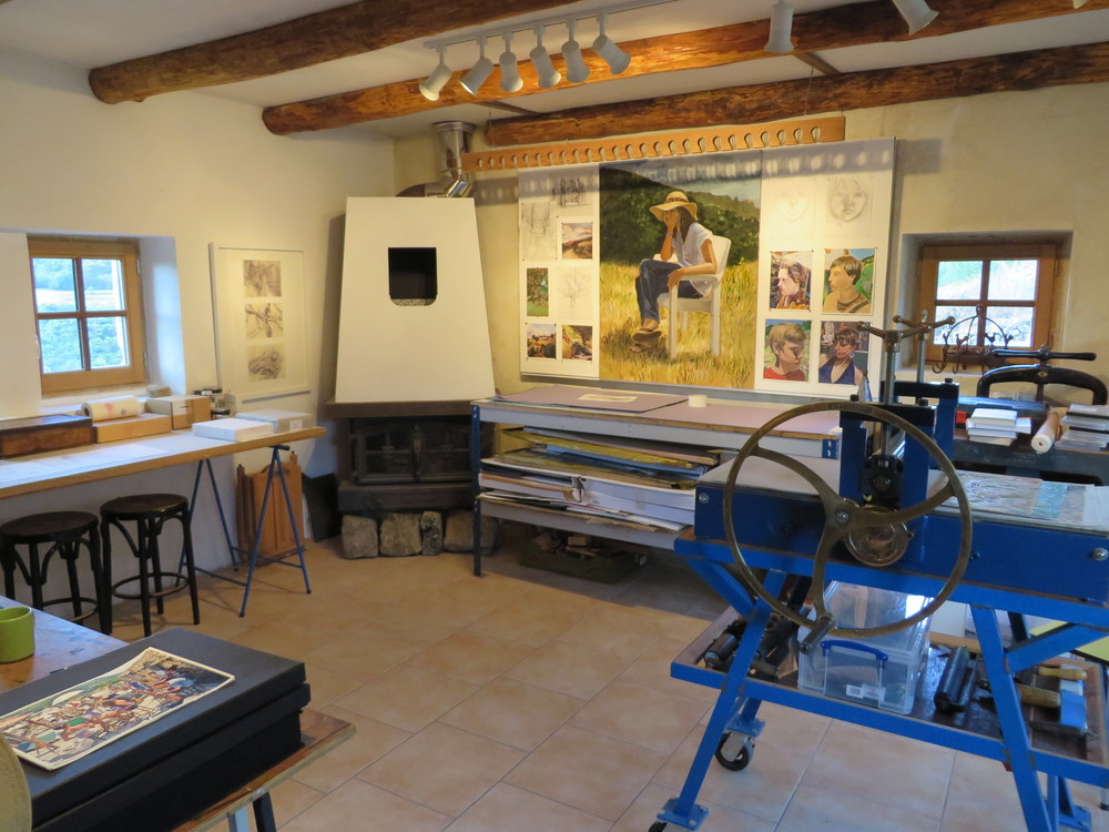 printmaking studio and printing presses at les tapies