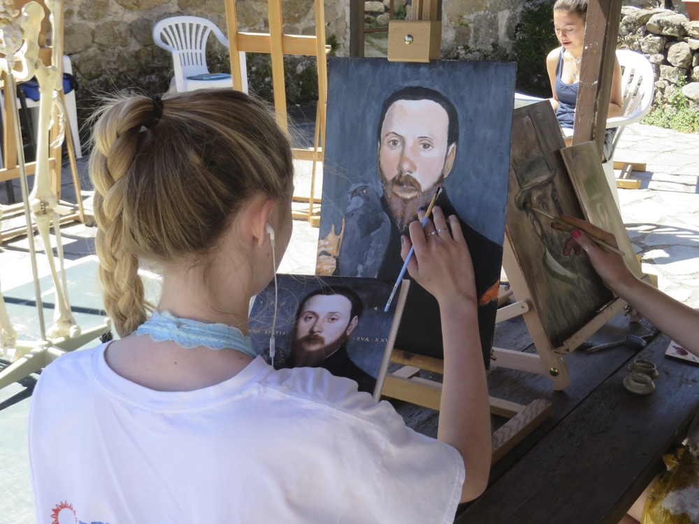 students working on studies of master works