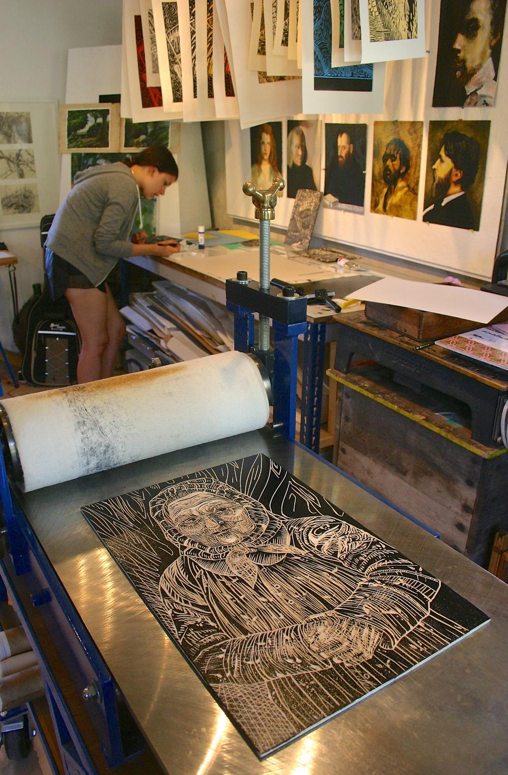 printing studio, student work