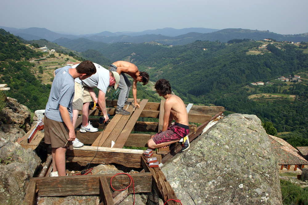 students building an overlook deck