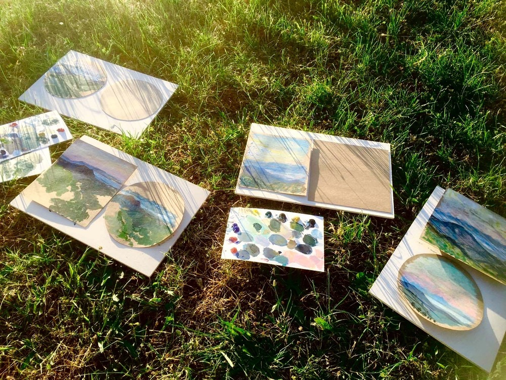 Early morning plein-air painting session to test out the materials and supplies.