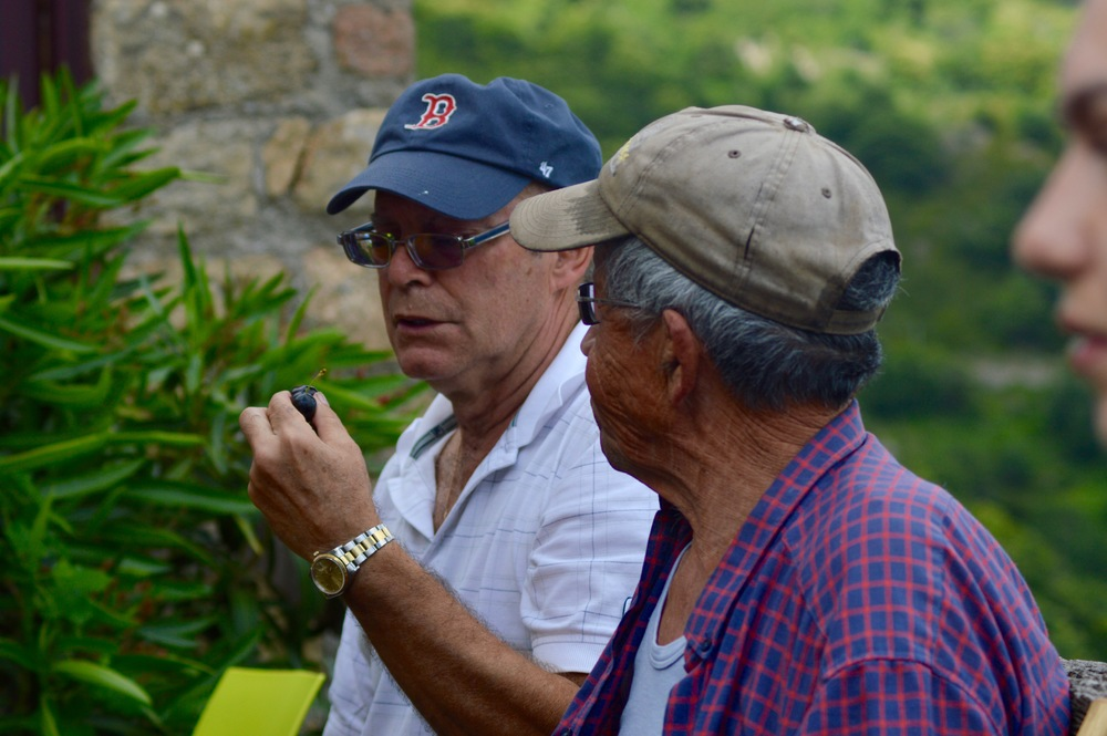 Fernando and our neighbour Paul Chalencon enjoying hand picked cherries.