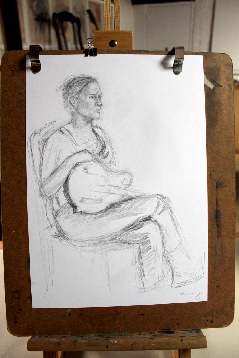 figure drawing session at les tapies summer programs