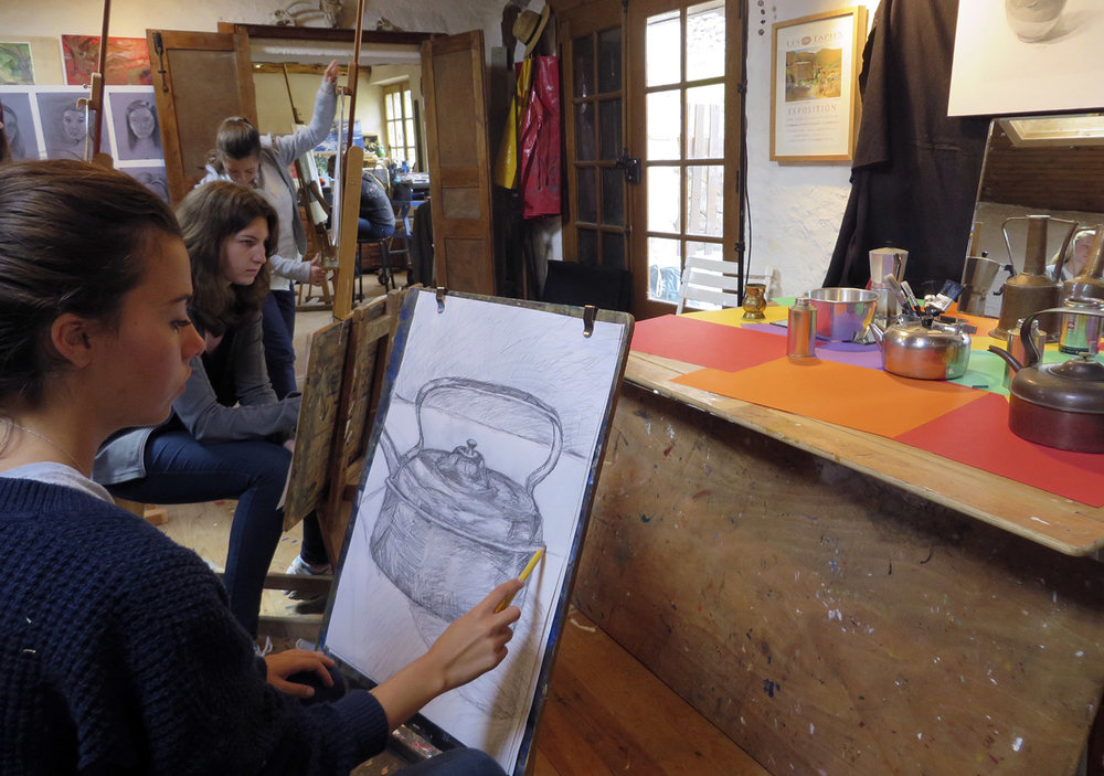 high school students working on still life drawings