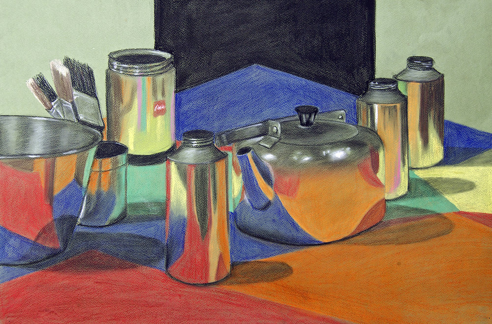 still life study in pastel from a student portfolio