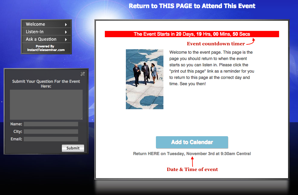 Future event page