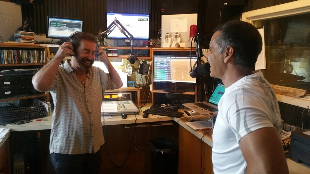 KONG Radio personality Ron Wiley interviews oracle Mas Sajady in their Kauai studios, October 2015.
