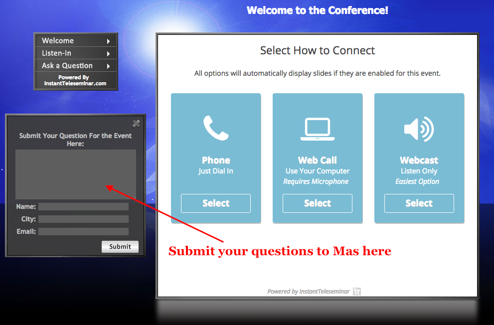 Selections of connecting to the live call