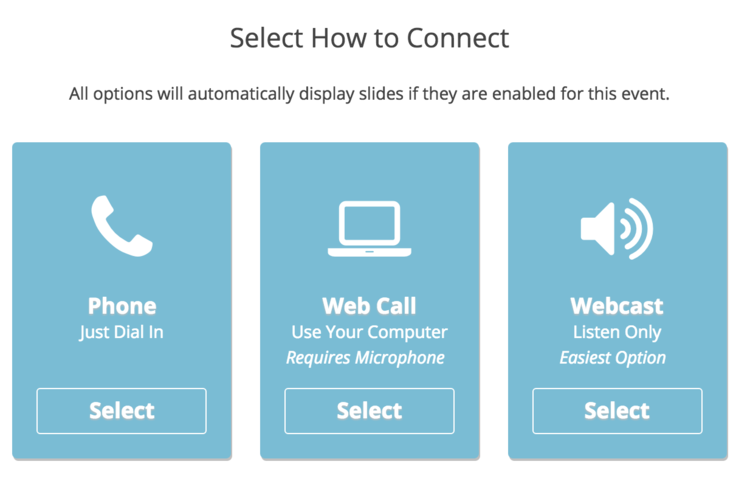 Selections for connecting to the live call