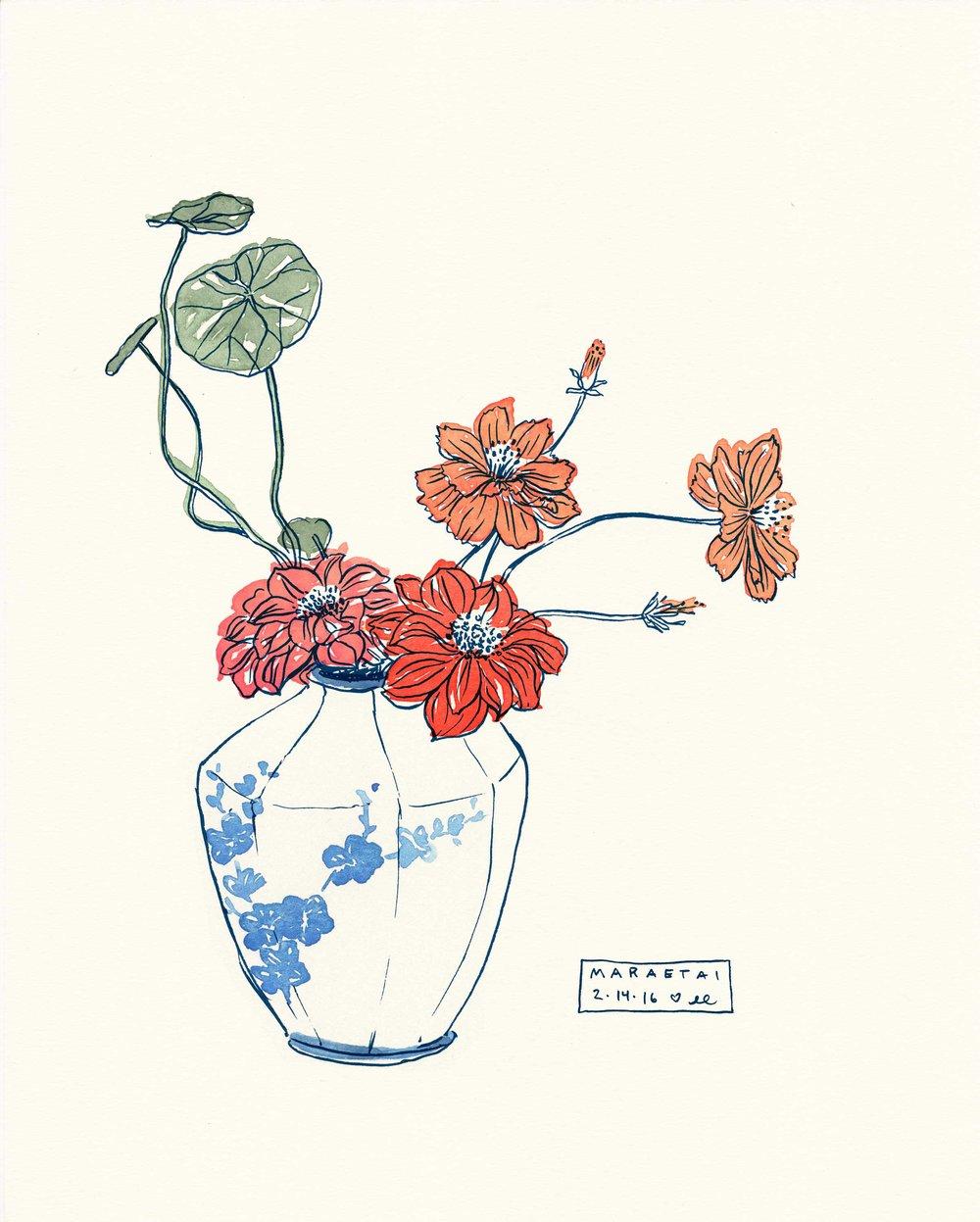 Floral vase Botanical Illustration