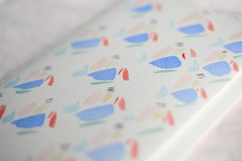 """Put on your Togs, Let's Swim in the Sea"" abstract watercolor pattern"