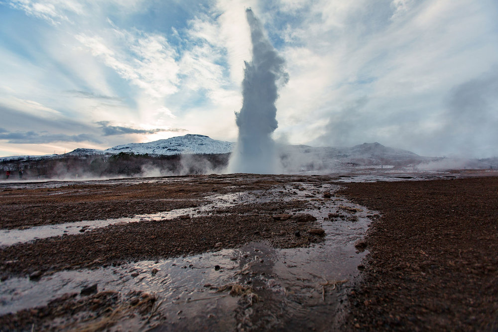 Random geyser that blew up in our faces. The water was scolding hot yet it was below freezing out.