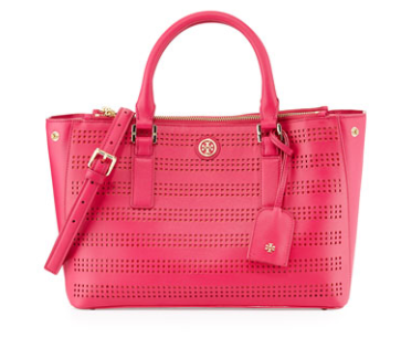 Tory Burch Perforated Double Zip Tote Bag