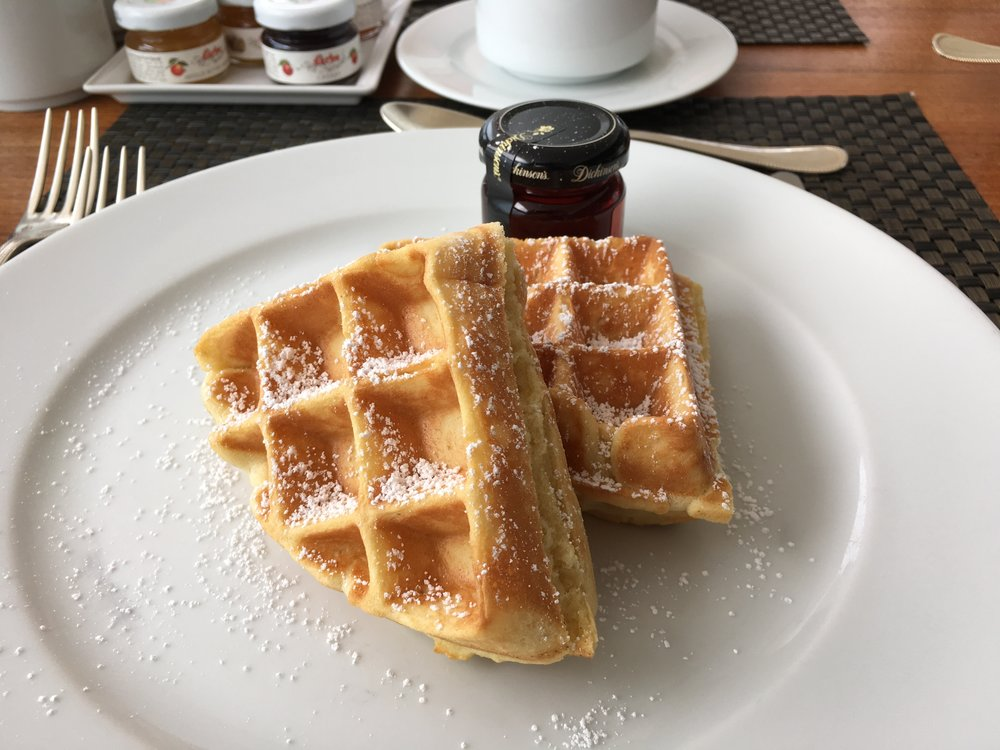 Whats your favourite breakfast? Mines a freshly made waffle with maple syrup.