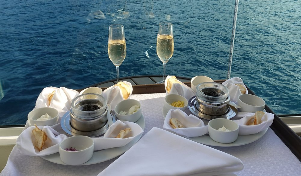 Caviar and champagne on the balcony - the best way to start an evening on Seabourn!
