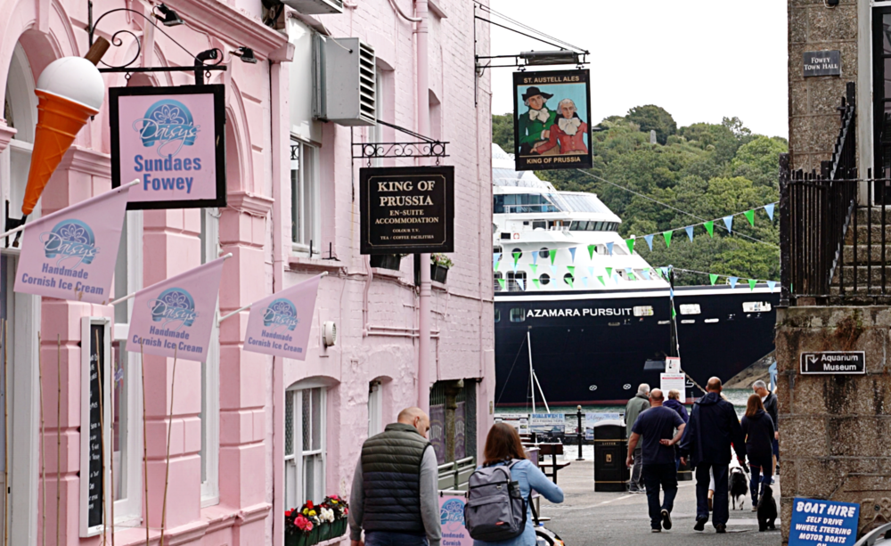 The Azamara Pursuit sneaking through the lanes of Fowey.