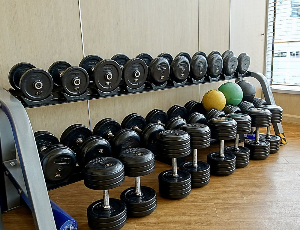 The separate weights room.