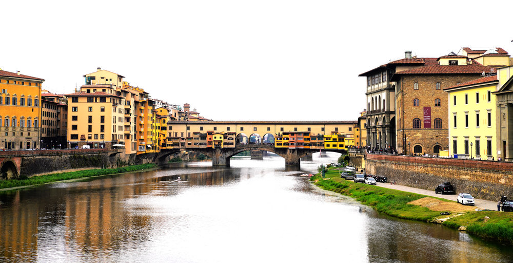The Ponte Vecchio viewed from further down the river.