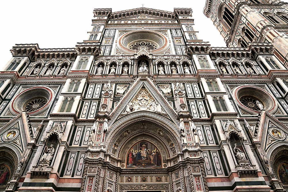 The very ornate entrance to Florence cathedral.