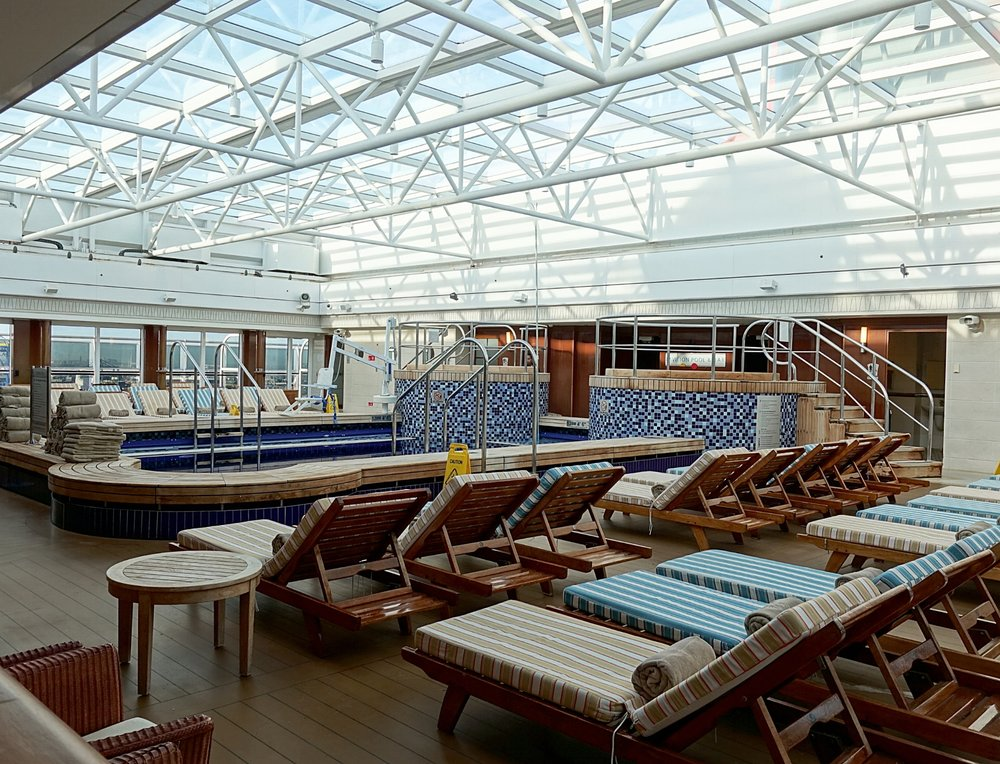 The upper deck indoor pool with retractable roof.