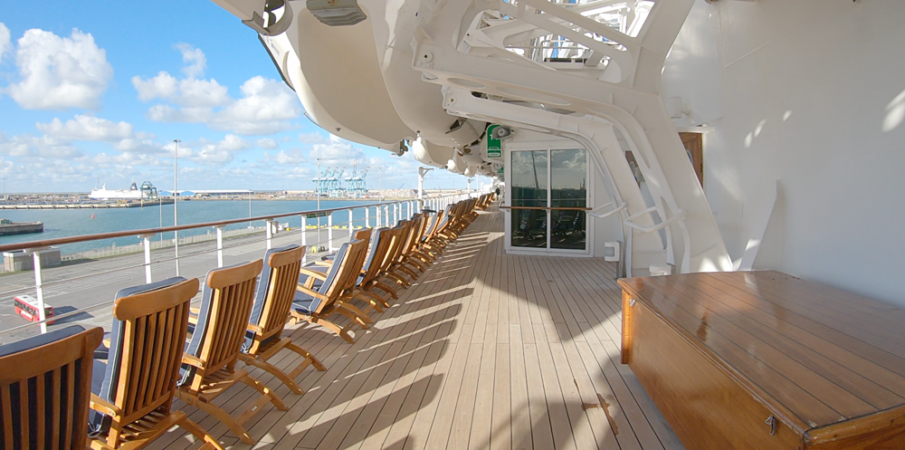 The beautiful teak clad promenade deck.