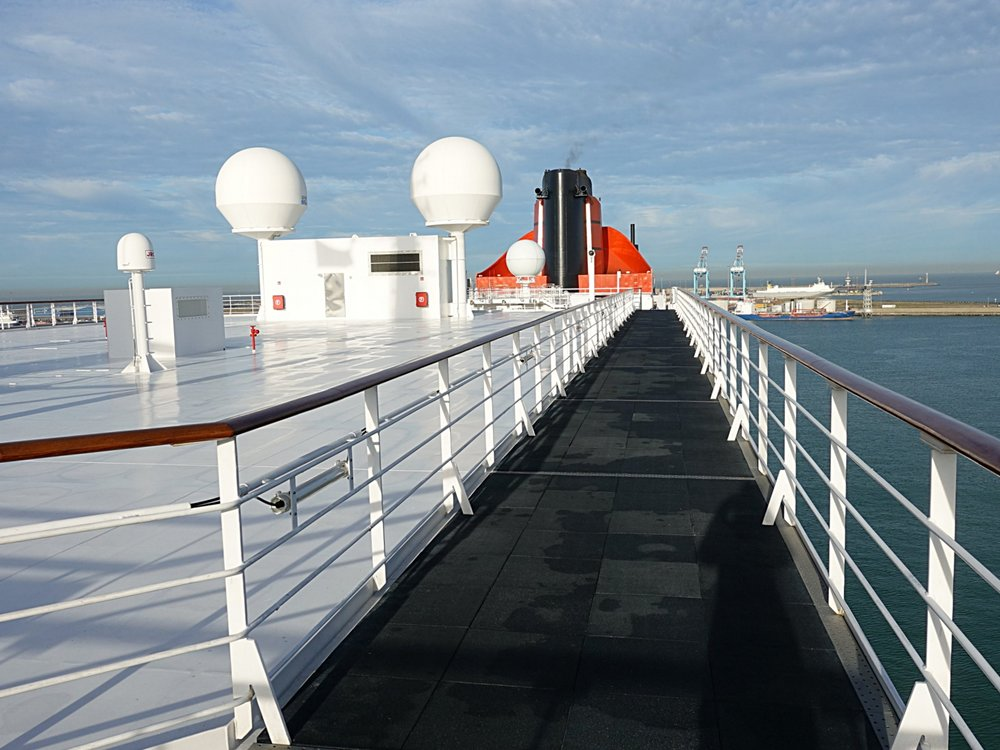 The new walkway created by the addition of deck 13 staterooms.