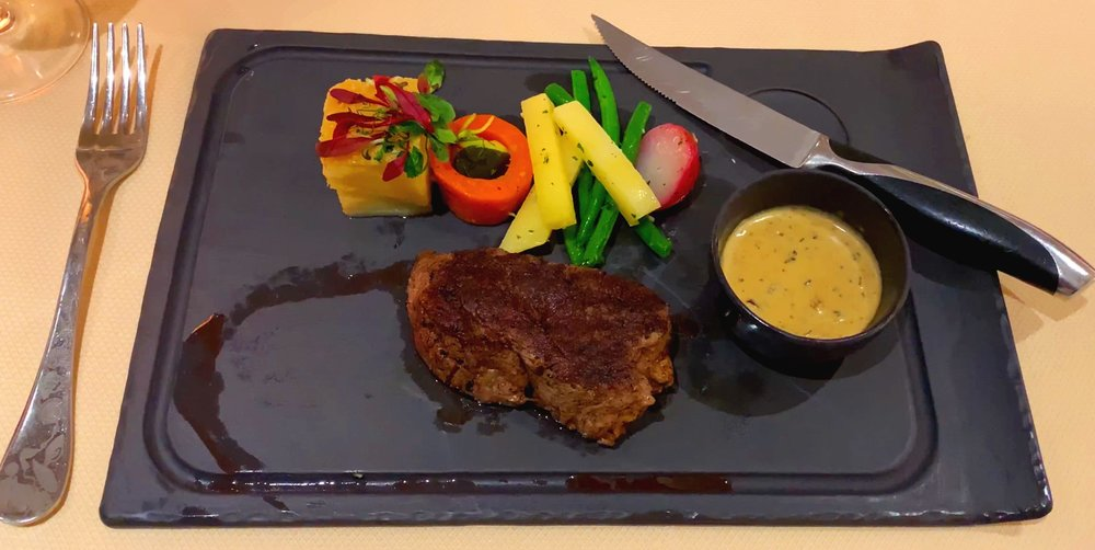 A mouth watering steak from Atlantide restaurant.