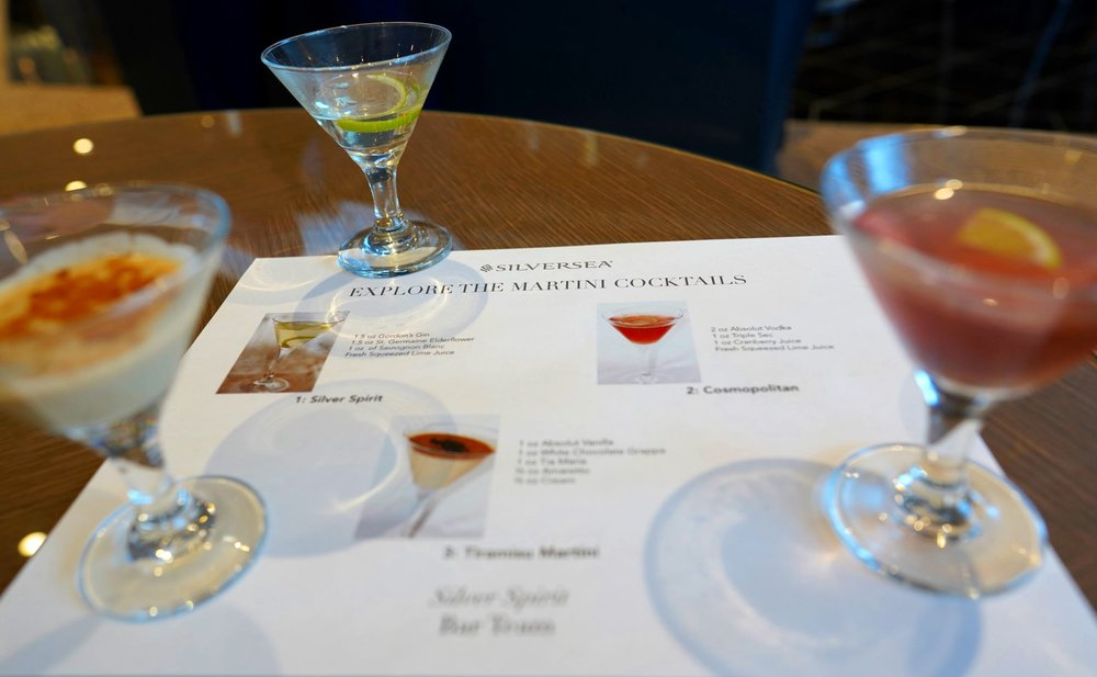 Our 3 martinis - the Silver Spirit, Cosmopolitan and Tiramisu martini.