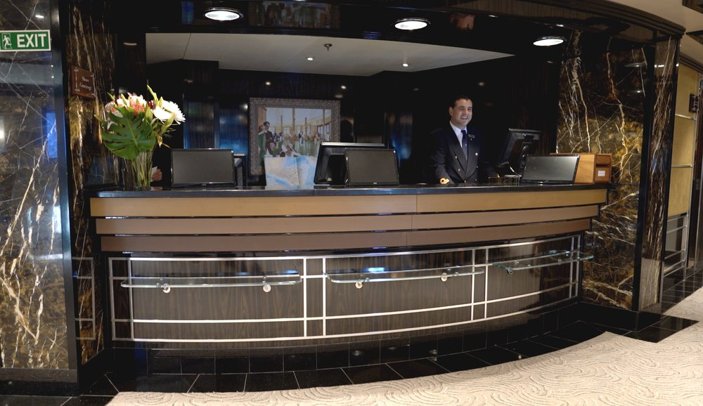 Reception desk, very rarely any queues and always a smiling face.