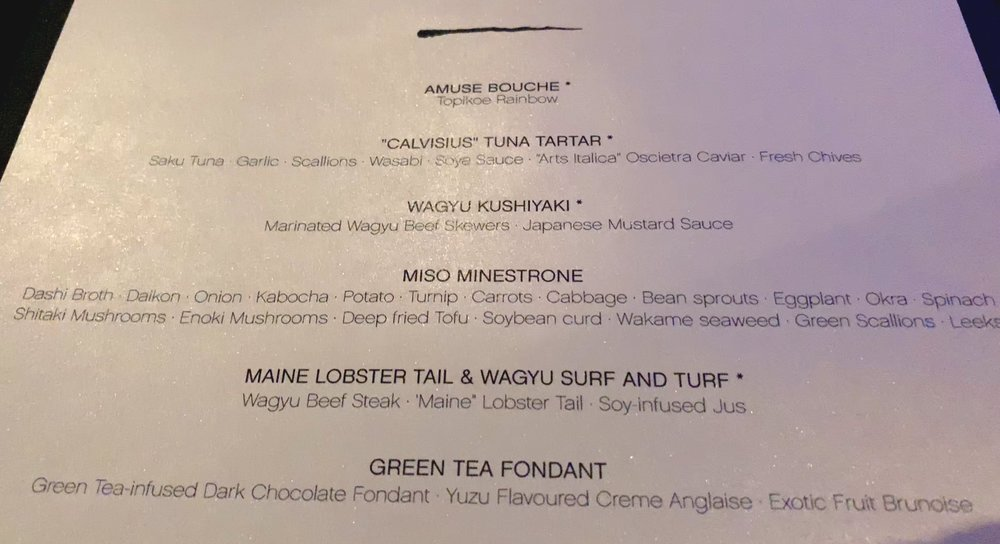 The chefs suggestions for Seishin dinner.
