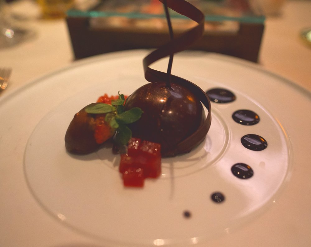 Delicious and shiny chocolate dessert.