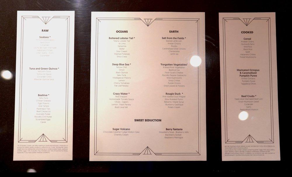 Silver Note menu.