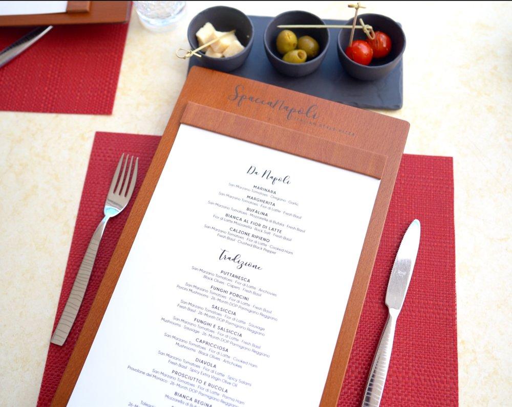 Spacconapoli menu.