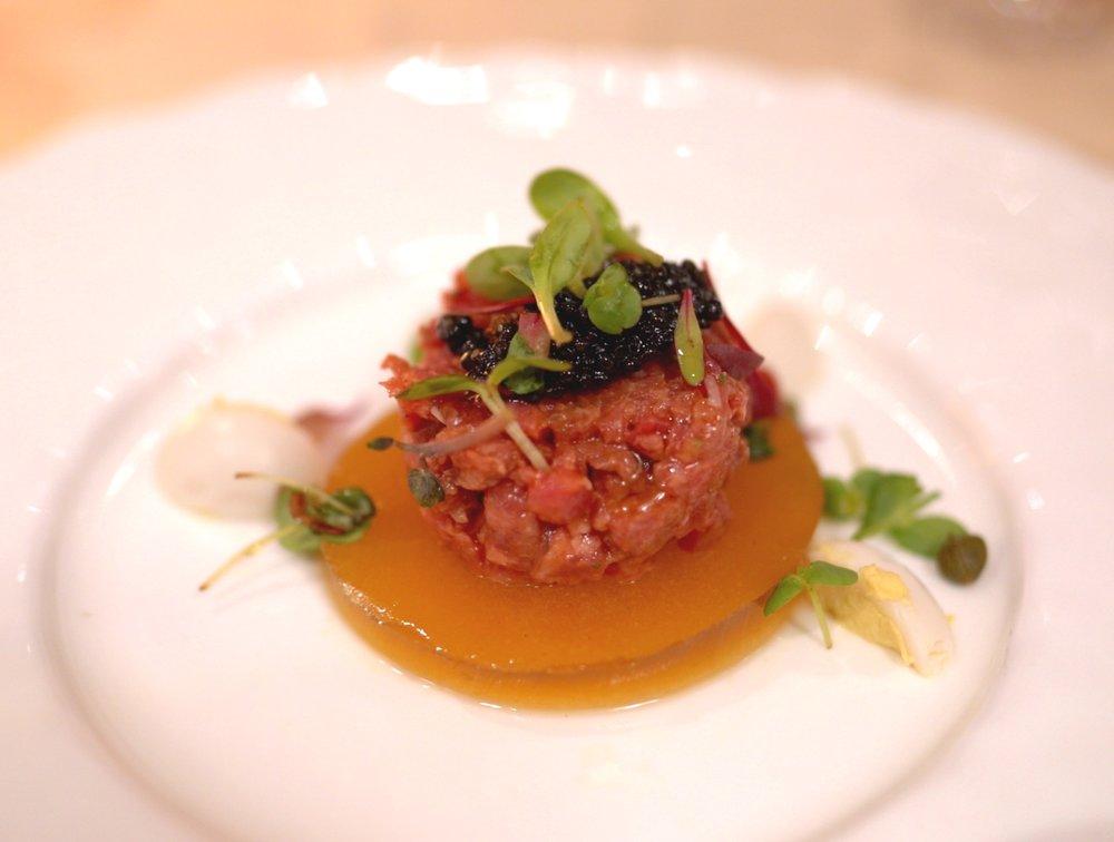 Beef and caviar tartare.
